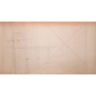 Mies Van Der Rohe Design Drawing, Coffee Table With Glass Top For Sale