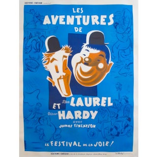 Original Oversize 1946 French Laurel + Hardy Poster