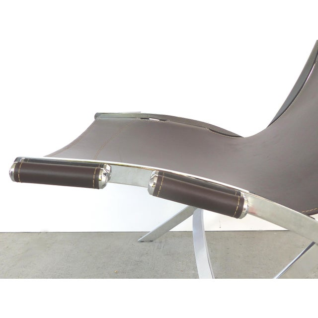 Brown Paul Tuttle, Antonio Citterio for Flexform Italia Scissor Chairs in Stainless Steel & Leather-A Pair For Sale - Image 8 of 13