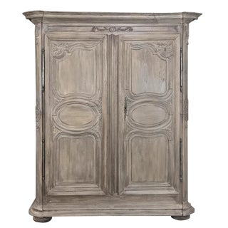 Early 18th Century Country French Stripped Oak Armoire For Sale