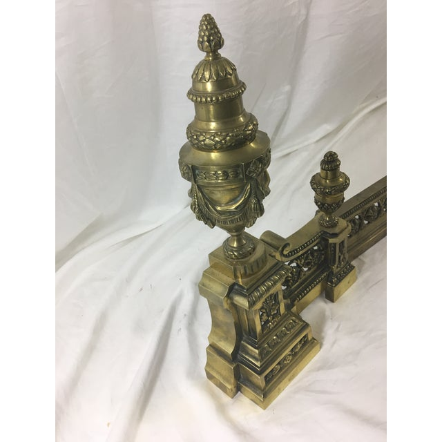 French Louis XVI Brass Chenet - 3 Pieces For Sale - Image 9 of 10