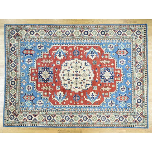 Hand-Knotted Kazak Geometric Design Wool Rug- 10′1″ × 14′ For Sale In New York - Image 6 of 6