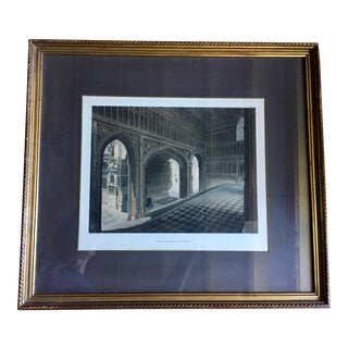 1812 Antique Porch of Henry 7th Chapel Thompson Aquatint Print For Sale