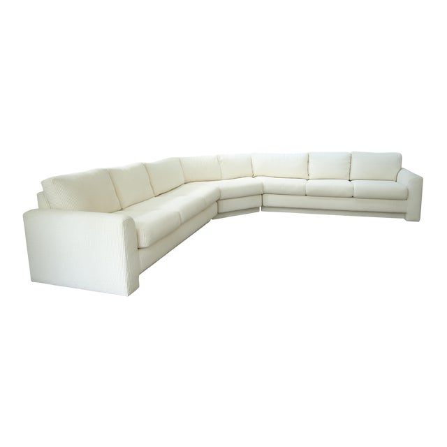 Milo Baughman Inspired 3-Piece White Chenille Modernist Sectional Sofa For Sale
