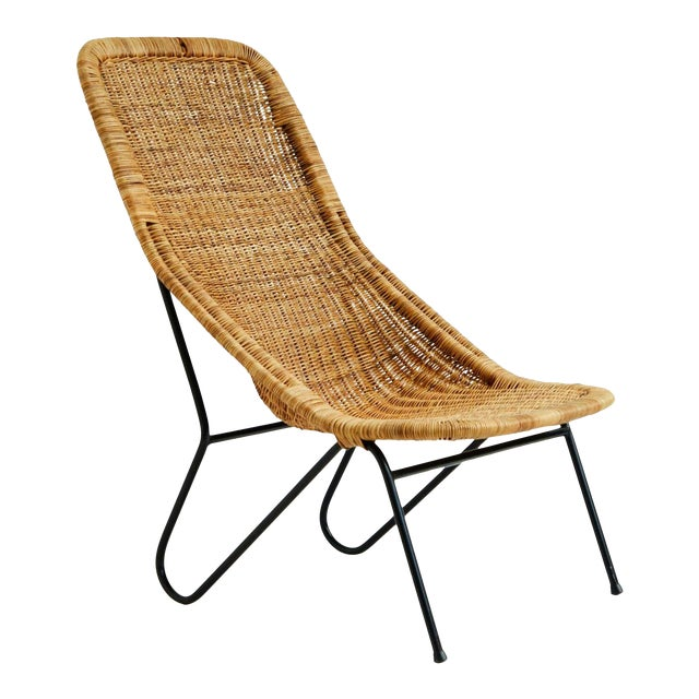 Vintage 1950s Wicker Chair For Sale