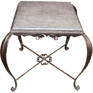 Vintage Iron Side Table With Slate Top For Sale