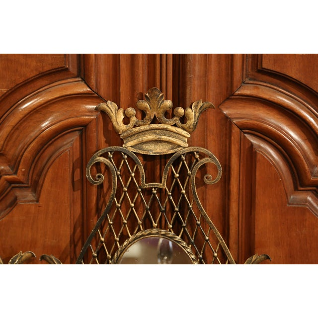 Pair of Early 20th Century French Iron Wall Sconces With Crystal and Mirror For Sale - Image 9 of 11