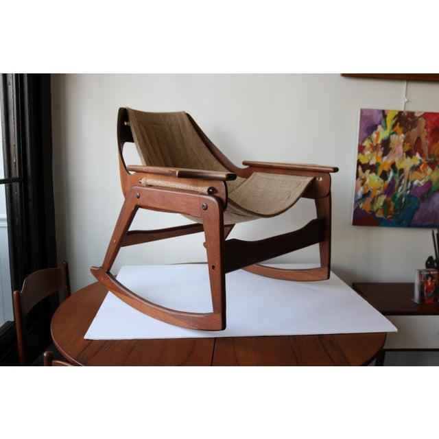 1970's Boho Jerry Johnson Sling Rocking Chair - Image 2 of 8