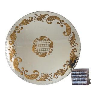 Vintage Italian Venetian Glass Reverse Painted Mirror For Sale