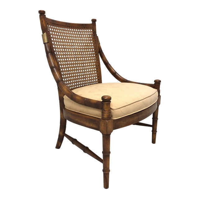 Vintage Mid Century Faux Bamboo Caned Lounge Chair For Sale