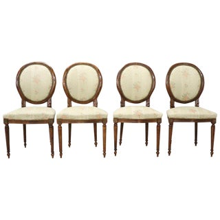 20th Century Italian Louis XVI Style Beech Wood Four Chairs For Sale