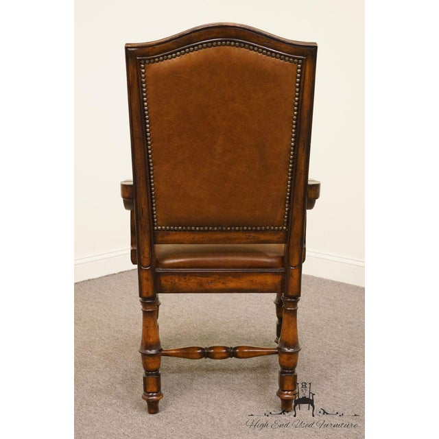 Hooker Furniture Wynterhall Collection Leather Dining Arm Chair W. Nail Head Trim For Sale In Kansas City - Image 6 of 10