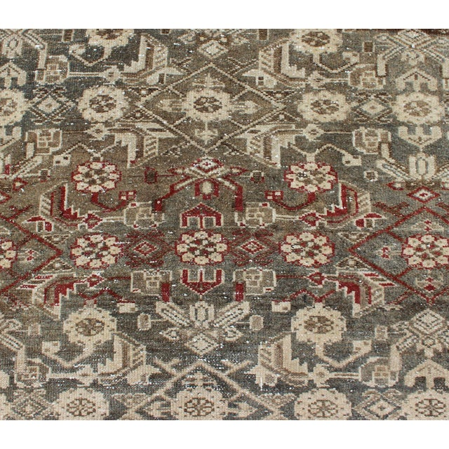 Earthy Tone Vintage Persian Hamadan Rug With All-Over Pattern For Sale - Image 9 of 12