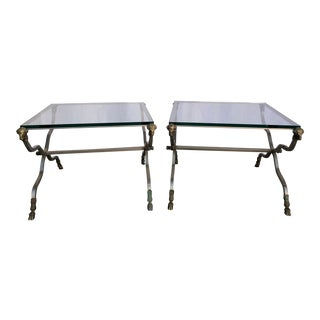Italian Maison Jansen Style Rams Head Brass and Steel Glass Top End Tables - a Pair For Sale