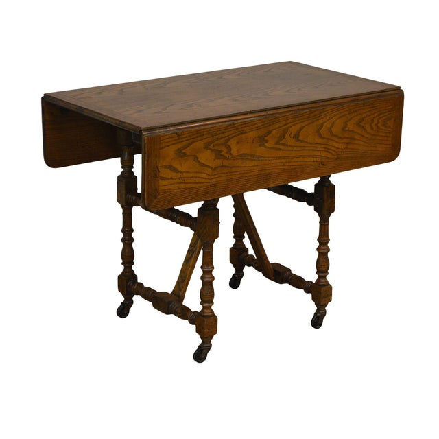 Baker Vintage Jacobean Style Oak Dropleaf High Low Adjustable Coffee Serving Table For Sale - Image 13 of 13