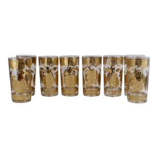 Gold Florentine Fruit Hi Ball Glasses - Set of 8 For Sale