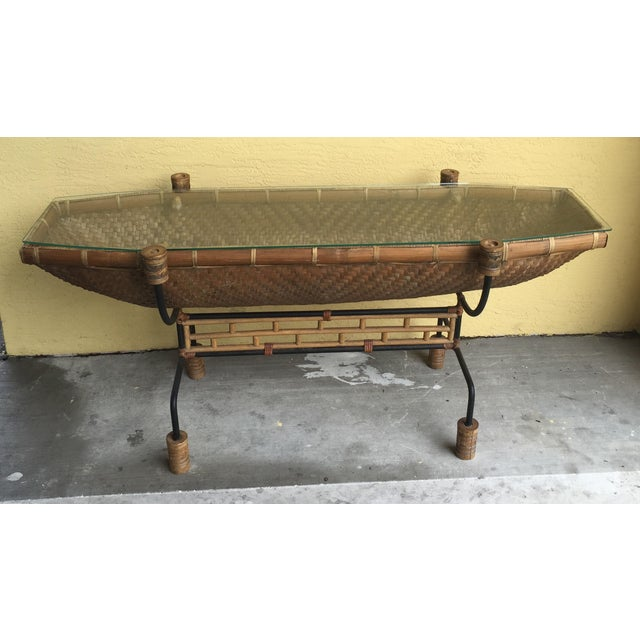 Vintage Pacific Style Rattan Console - Image 3 of 11