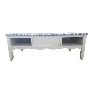 Gorgeous Royal Blue and White Top Shabby Chic Coffee Table With Storage