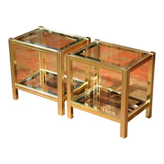 Mid-20th Century French Neoclassical Metal & Glass End Tables - A Pair For Sale