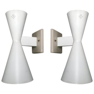 Pair of Midcentury Double Cone Wall Sconces For Sale