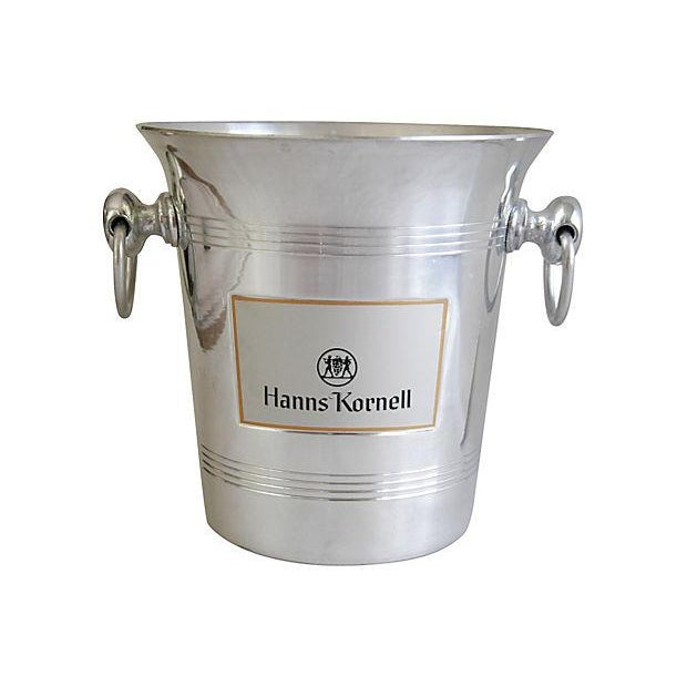 """Vintage French champagne ice chiller bucket. Front label reads """"Hanns Kornell."""" Marked """"Made in France."""" Bottle in photos..."""