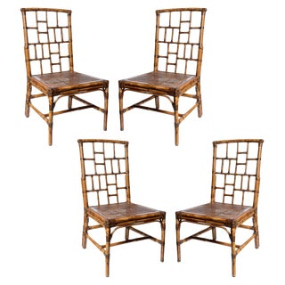 Vintage Bamboo Chairs New Blue & White Upholstery Set/4