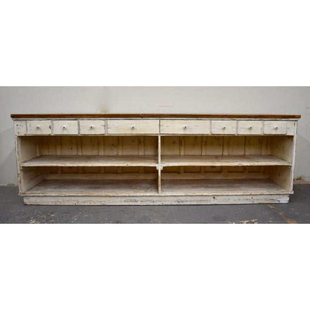 Massive Vintage Painted Pine and Oak Store Counter For Sale - Image 13 of 13