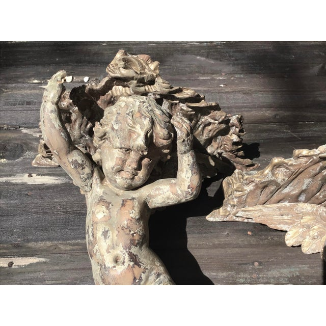 Wood Pair of Italian Cherub Wall Brackets For Sale - Image 7 of 10