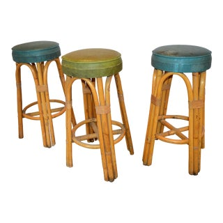 1940s Vintage Rattan Bar Stools - Set of 3 For Sale