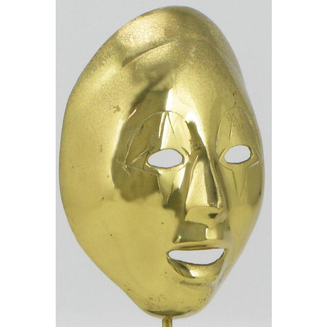 Pair Brass Carnivale Masks Mounted On Black Marble For Sale In Chicago - Image 6 of 8