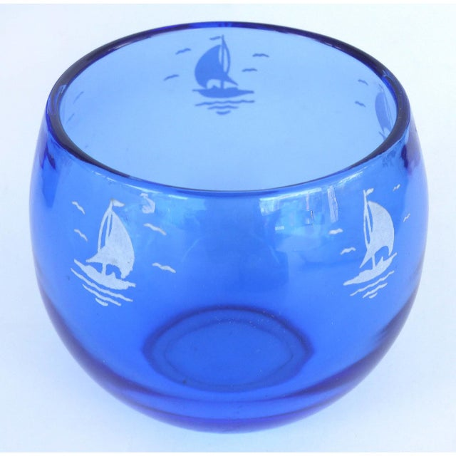 1930s 1930s Cobalt Martini Shaker, Ice Bucket & Glasses - Set of 8 For Sale - Image 5 of 10