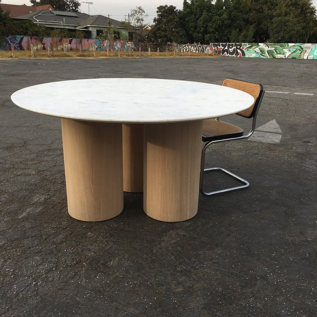 Oversized Pillar Marble Dining Table in White Oak For Sale - Image 9 of 13