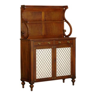 English Regency Antique Mahogany and Brass Cabinet Sideboard Server, 19th Century For Sale