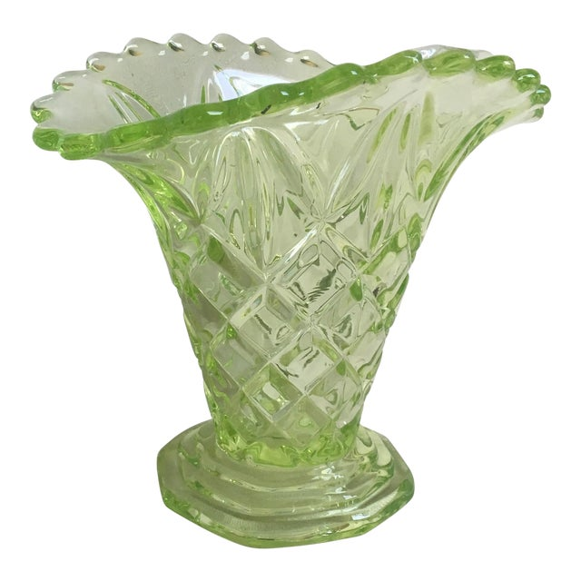 Sowerby 1930s Art Deco Uranium Vaseline Glass Manchester Basket