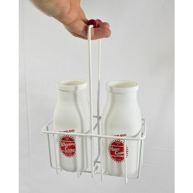 Retro White Glass Cream Bottles and Metal Carrier - Image 9 of 10