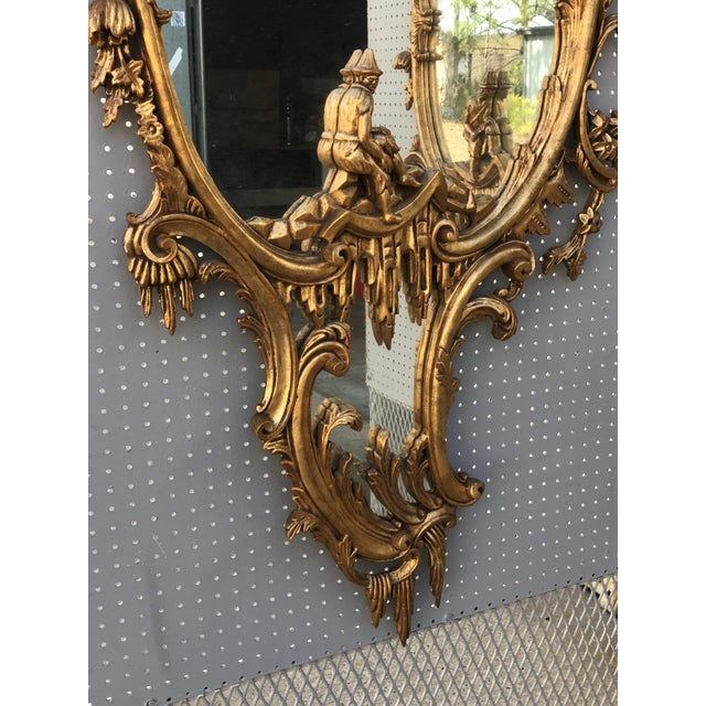 Asian Vintage Mid-Century Chinese Chippendale Style Gilt-Wood Mirrors - A Pair For Sale - Image 3 of 5