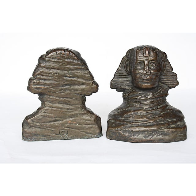 1920s art Deco Armor Bronze Sphinx Bookends - a Pair For Sale In New York - Image 6 of 7
