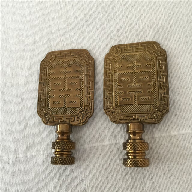 Asian Symbol Brass Lamp Finials - A Pair - Image 4 of 6