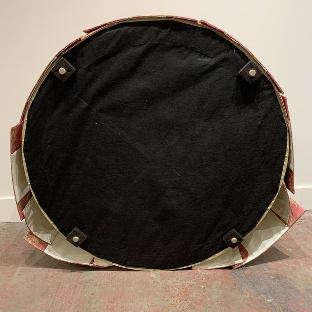 Late 20th Century Scalamandre Pomengrante Fabric Round Tufted Ottoman For Sale - Image 5 of 7
