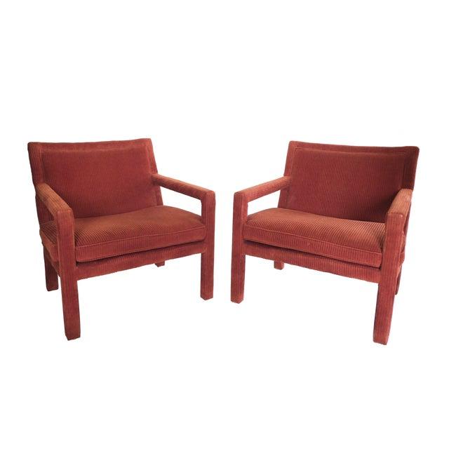 1970s Milo Baughman-Style Corduroy Armchair - Pair For Sale