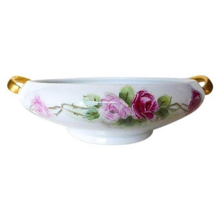 Hutschenreuther Floral & Gilt Decorated Porcelain Serving Bowl For Sale