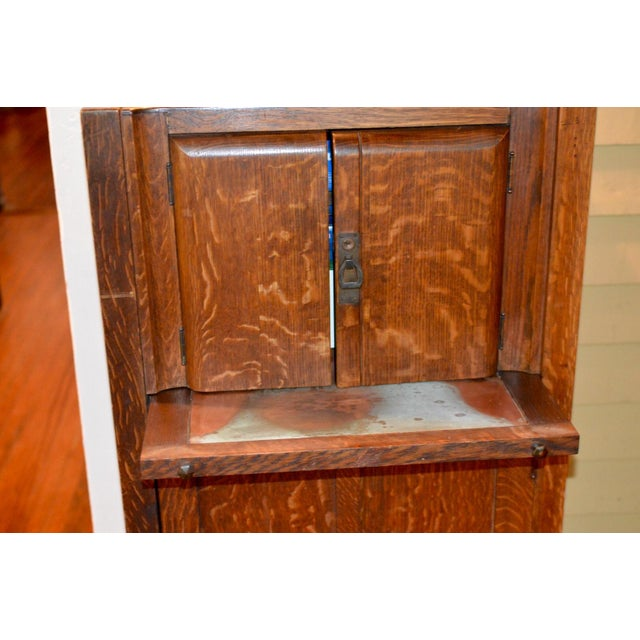 1925 Mission Oak Prohibition Era Liquor Cabinet For Sale - Image 4 of 10