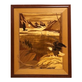 "1990s ""High Country Home"" Fine Wood Inlay Art by Hudson River Inlay, Framed For Sale"