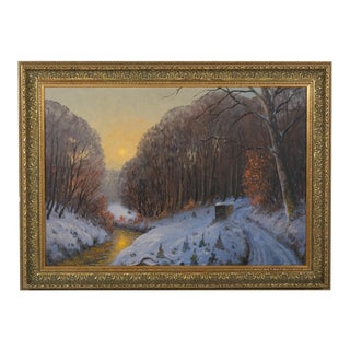 Snowy Forest Landscape Oil on Canvas by Rimmer P. Gustav For Sale