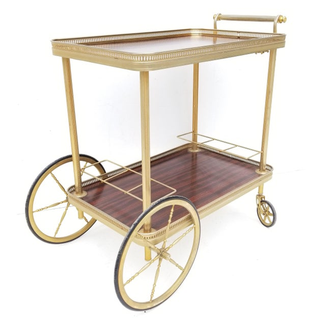 Brass Maison Jansen French Neoclassical Brass Bar Cart For Sale - Image 8 of 8