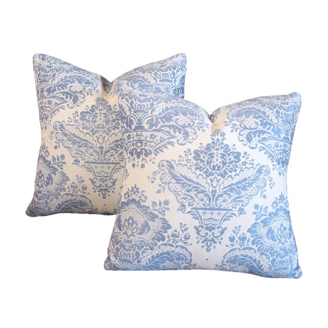 Made from vintage unused 100% Belgian linen fabric embroidered with French pale blue thread in a damask pattern, these...