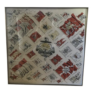 Vintage Framed Hermes Scarf Museum Quality Framing For Sale