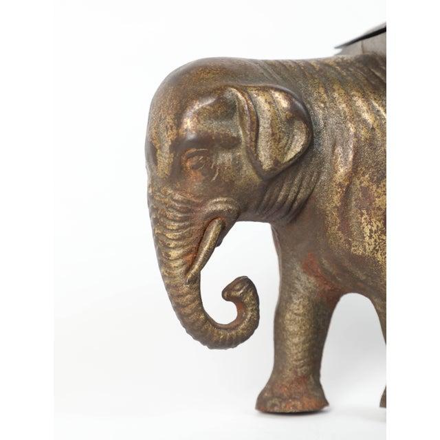 Antique Art Deco Cast Iron Elephant Cigarettes Holder and Dispenser For Sale - Image 4 of 8