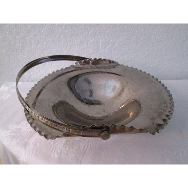 Traditional Italian Engraved Silverplate Swing Handle Basket For Sale - Image 3 of 7