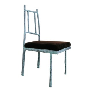 Sculptural Ceramic and Steel Side or Dining Chair With Recycled Fur Upholstered Seat by Zuckerhosen For Sale